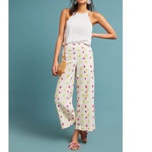 Anthropologie Clipped Dot Crop Wide Trousers